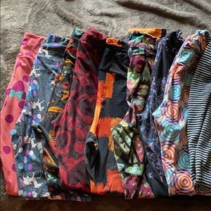 Lot of 8 TC leggings and one Maxi skirt size L
